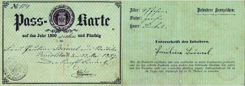 Passkarte Stadtilm 1857